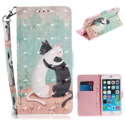 Black and White Cat 3D Painted Leather Wallet Phone Case for iPhone 6s 6 6G(4.7 inch)