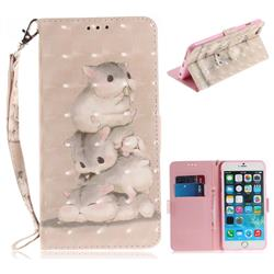 Three Squirrels 3D Painted Leather Wallet Phone Case for iPhone 6s 6 6G(4.7 inch)