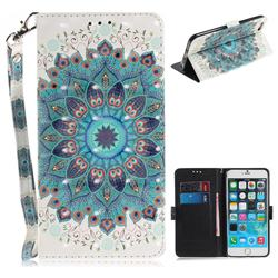 Peacock Mandala 3D Painted Leather Wallet Phone Case for iPhone 6s 6 6G(4.7 inch)