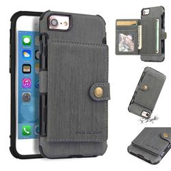 Brush Multi-function Leather Phone Case for iPhone 6s 6 6G(4.7 inch) - Gray