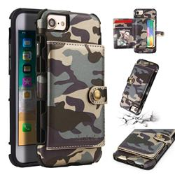 Camouflage Multi-function Leather Phone Case for iPhone 6s 6 6G(4.7 inch) - Gray