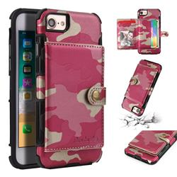 Camouflage Multi-function Leather Phone Case for iPhone 6s 6 6G(4.7 inch) - Rose