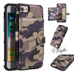 Camouflage Multi-function Leather Phone Case for iPhone 6s 6 6G(4.7 inch) - Purple
