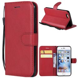 Retro Greek Classic Smooth PU Leather Wallet Phone Case for iPhone 6s 6 6G(4.7 inch) - Red