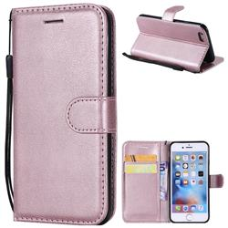 Retro Greek Classic Smooth PU Leather Wallet Phone Case for iPhone 6s 6 6G(4.7 inch) - Rose Gold