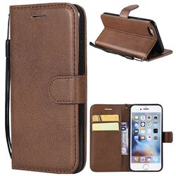 Retro Greek Classic Smooth PU Leather Wallet Phone Case for iPhone 6s 6 6G(4.7 inch) - Brown