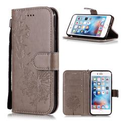Intricate Embossing Dandelion Butterfly Leather Wallet Case for iPhone 6s 6 6G(4.7 inch) - Gray