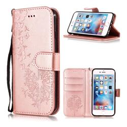 Intricate Embossing Dandelion Butterfly Leather Wallet Case for iPhone 6s 6 6G(4.7 inch) - Rose Gold