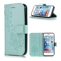 Intricate Embossing Dandelion Butterfly Leather Wallet Case for iPhone 6s 6 6G(4.7 inch) - Green