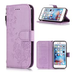 Intricate Embossing Dandelion Butterfly Leather Wallet Case for iPhone 6s 6 6G(4.7 inch) - Purple