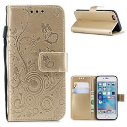 Intricate Embossing Butterfly Circle Leather Wallet Case for iPhone 6s 6 6G(4.7 inch) - Champagne