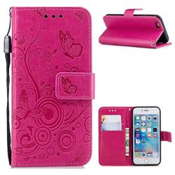 Intricate Embossing Butterfly Circle Leather Wallet Case for iPhone 6s 6 6G(4.7 inch) - Red