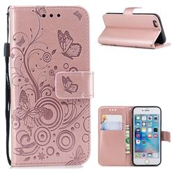 Intricate Embossing Butterfly Circle Leather Wallet Case for iPhone 6s 6 6G(4.7 inch) - Rose Gold