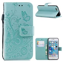 Intricate Embossing Butterfly Circle Leather Wallet Case for iPhone 6s 6 6G(4.7 inch) - Cyan