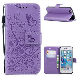 Intricate Embossing Butterfly Circle Leather Wallet Case for iPhone 6s 6 6G(4.7 inch) - Purple