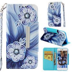 Button Flower Big Metal Buckle PU Leather Wallet Phone Case for iPhone 6s 6 6G(4.7 inch)