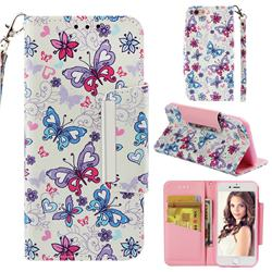 Colored Butterfly Big Metal Buckle PU Leather Wallet Phone Case for iPhone 6s 6 6G(4.7 inch)