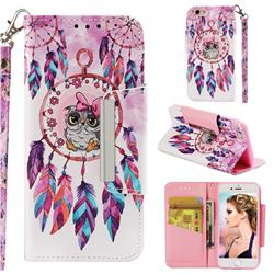 Owl Wind Chimes Big Metal Buckle PU Leather Wallet Phone Case for iPhone 6s 6 6G(4.7 inch)