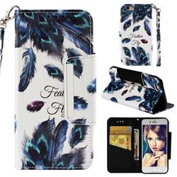 Peacock Feather Big Metal Buckle PU Leather Wallet Phone Case for iPhone 6s 6 6G(4.7 inch)