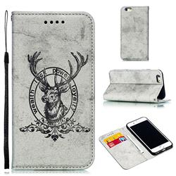 Retro Intricate Embossing Elk Seal Leather Wallet Case for iPhone 6s 6 6G(4.7 inch) - Gray