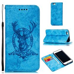 Retro Intricate Embossing Elk Seal Leather Wallet Case for iPhone 6s 6 6G(4.7 inch) - Blue