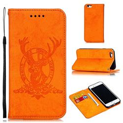 Retro Intricate Embossing Elk Seal Leather Wallet Case for iPhone 6s 6 6G(4.7 inch) - Orange