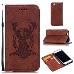 Retro Intricate Embossing Elk Seal Leather Wallet Case for iPhone 6s 6 6G(4.7 inch) - Brown