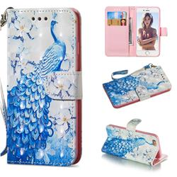 Blue Peacock 3D Painted Leather Wallet Phone Case for iPhone 6s 6 6G(4.7 inch)