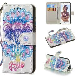 Colorful Elephant 3D Painted Leather Wallet Phone Case for iPhone 6s 6 6G(4.7 inch)