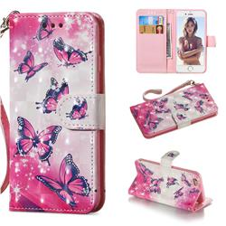 Pink Butterfly 3D Painted Leather Wallet Phone Case for iPhone 6s 6 6G(4.7 inch)