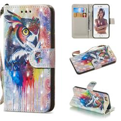 Watercolor Owl 3D Painted Leather Wallet Phone Case for iPhone 6s 6 6G(4.7 inch)