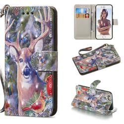 Elk Deer 3D Painted Leather Wallet Phone Case for iPhone 6s 6 6G(4.7 inch)