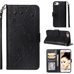 Embossing Fireworks Elephant Leather Wallet Case for iPhone 6s 6 6G(4.7 inch) - Black