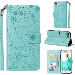 Embossing Fireworks Elephant Leather Wallet Case for iPhone 6s 6 6G(4.7 inch) - Green