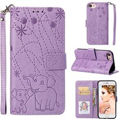Embossing Fireworks Elephant Leather Wallet Case for iPhone 6s 6 6G(4.7 inch) - Purple