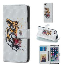 Toothed Tiger 3D Painted Leather Phone Wallet Case for iPhone 6s 6 6G(4.7 inch)