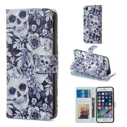 Skull Flower 3D Painted Leather Phone Wallet Case for iPhone 6s 6 6G(4.7 inch)