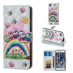 Rainbow Owl Family 3D Painted Leather Phone Wallet Case for iPhone 6s 6 6G(4.7 inch)
