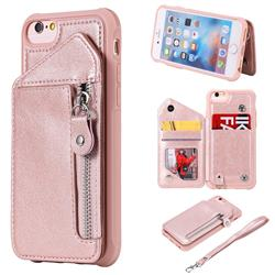 Classic Luxury Buckle Zipper Anti-fall Leather Phone Back Cover for iPhone 6s 6 6G(4.7 inch) - Pink