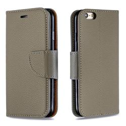 Classic Luxury Litchi Leather Phone Wallet Case for iPhone 6s 6 6G(4.7 inch) - Gray