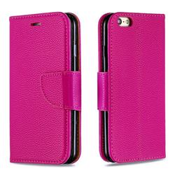 Classic Luxury Litchi Leather Phone Wallet Case for iPhone 6s 6 6G(4.7 inch) - Rose