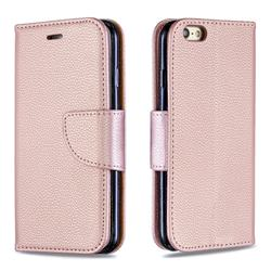 Classic Luxury Litchi Leather Phone Wallet Case for iPhone 6s 6 6G(4.7 inch) - Golden