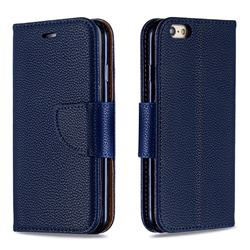 Classic Luxury Litchi Leather Phone Wallet Case for iPhone 6s 6 6G(4.7 inch) - Blue