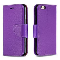 Classic Luxury Litchi Leather Phone Wallet Case for iPhone 6s 6 6G(4.7 inch) - Purple