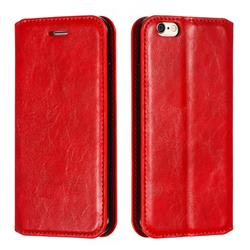 Retro Slim Magnetic Crazy Horse PU Leather Wallet Case for iPhone 6s 6 6G(4.7 inch) - Red