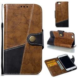 Retro Magnetic Stitching Wallet Flip Cover for iPhone 6s 6 6G(4.7 inch) - Brown