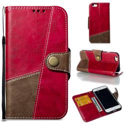 Retro Magnetic Stitching Wallet Flip Cover for iPhone 6s 6 6G(4.7 inch) - Rose Red
