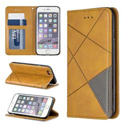 Prismatic Slim Magnetic Sucking Stitching Wallet Flip Cover for iPhone 6s 6 6G(4.7 inch) - Yellow