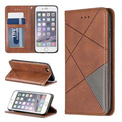 Prismatic Slim Magnetic Sucking Stitching Wallet Flip Cover for iPhone 6s 6 6G(4.7 inch) - Brown
