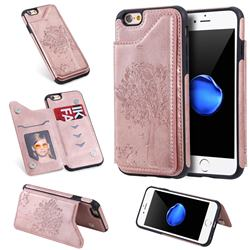 Luxury Tree and Cat Multifunction Magnetic Card Slots Stand Leather Phone Back Cover for iPhone 6s 6 6G(4.7 inch) - Rose Gold